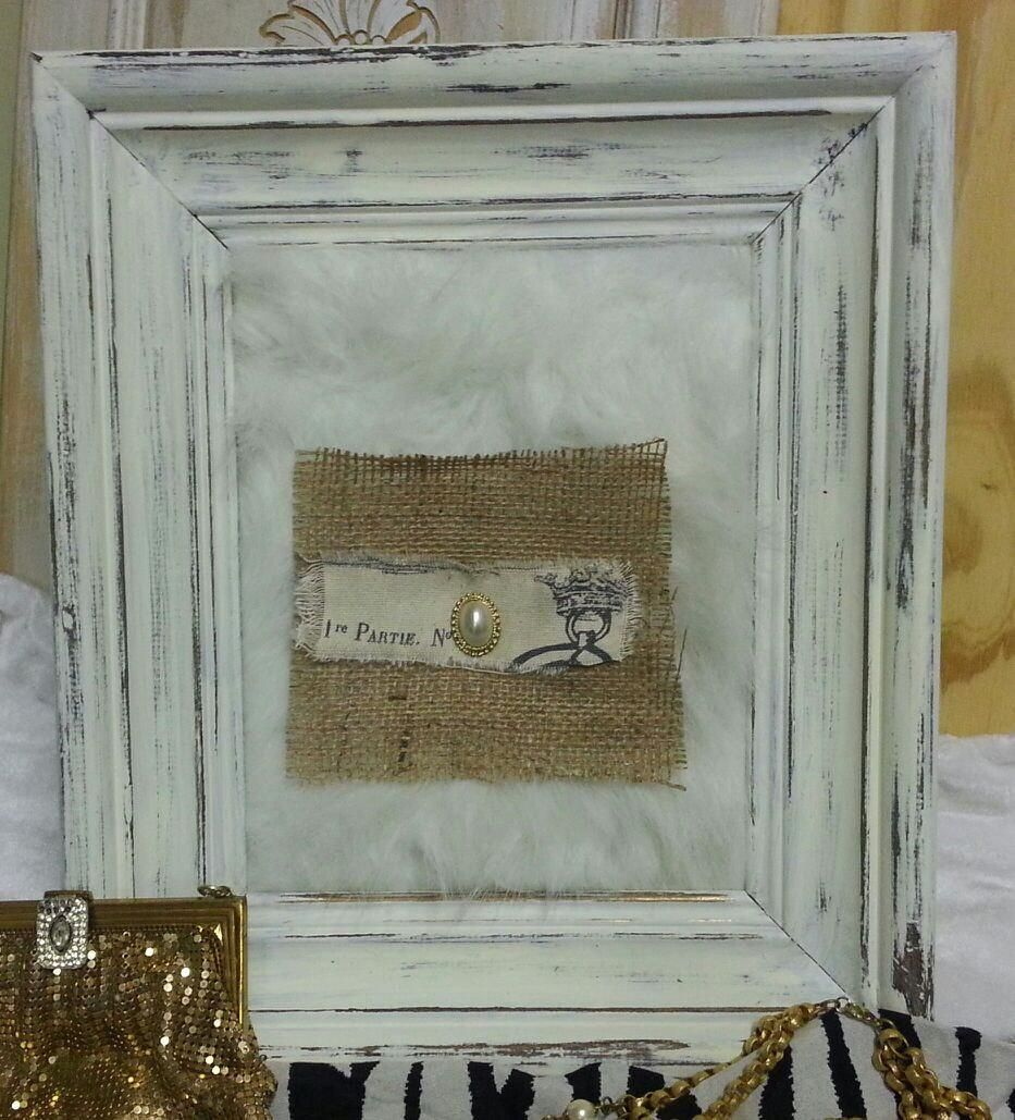 custom made large chunky distressed wood frame with fur vintage earringburlap