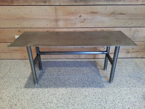 Custom Made Steel Top Coffee Table With Steel Tube Legs