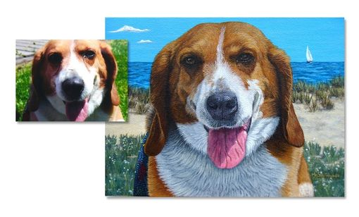 Custom Made Beagle Painting By The Sea
