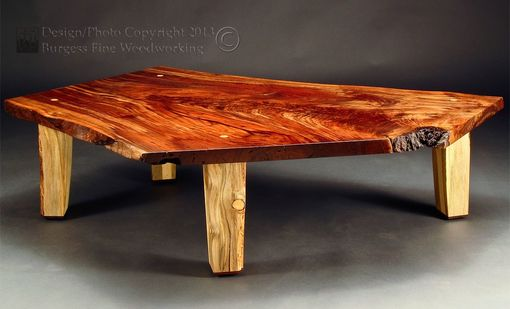 Custom Made Rustic Claro-Walnut Slab Coffee Table