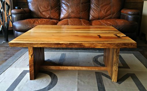Custom Made Book Matched Sycamore And Curly Maple Coffee Table