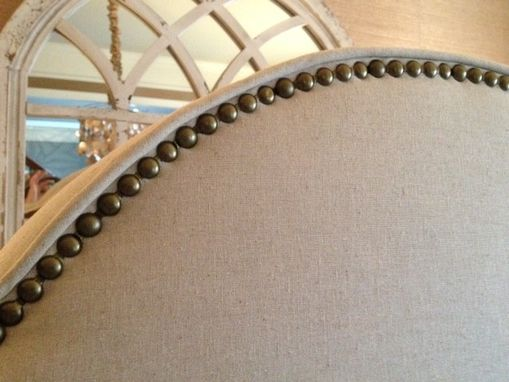 Custom Made King Arched Upholstered Headboard, Natural Linen, Antique Brass Nailhead