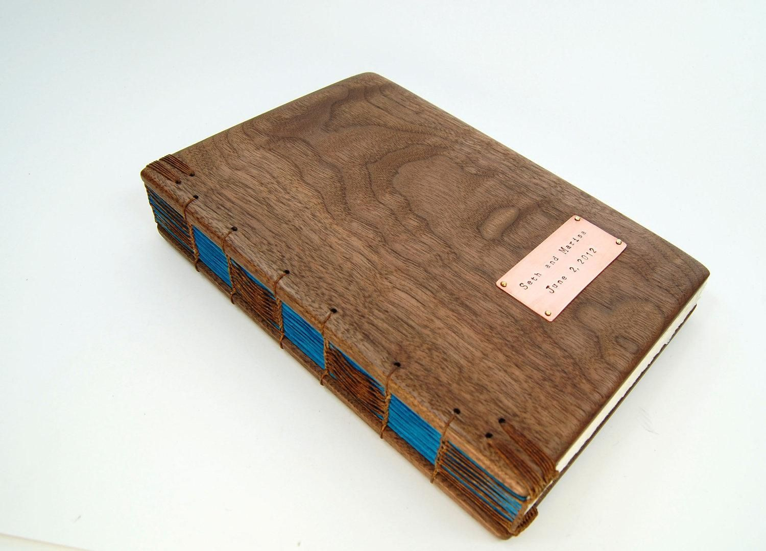 Wood Cover Cookbook : Hand crafted wedding guest book with black walnut wood
