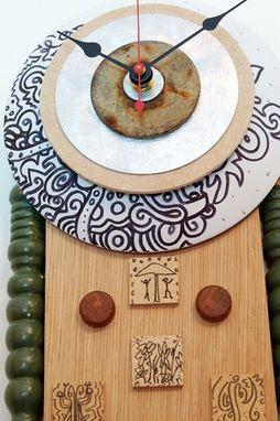 Custom Made Recycled Wall Clock - Wood, Metal, Copper Mixed Media Art Clock - Ready To Ship