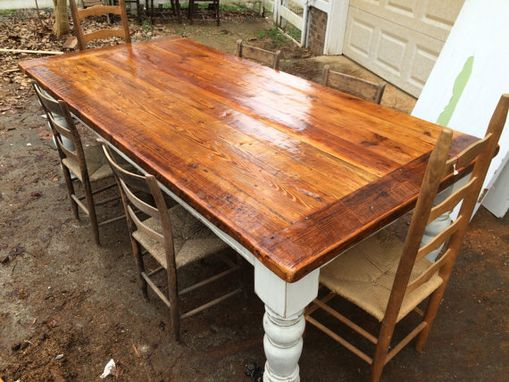 Custom Made 8 Foot Antique Oak Farmhouse Table