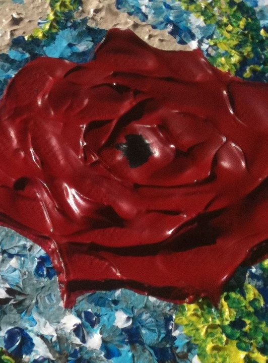 Buy A Custom Original Abstract Red Roses Floral Landscape