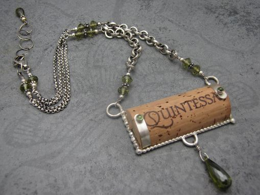 Custom Made Recycled Wine Cork And Sterling Necklaces On Chain