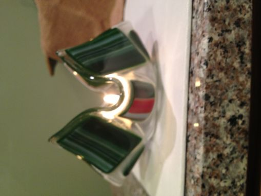 Custom Made Fused Glass Candle Holder With Red, White And Green Swirl Glass.