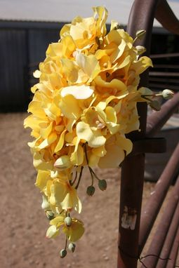 Custom Made Yellow Cascading Orchid Bridal Bouquet