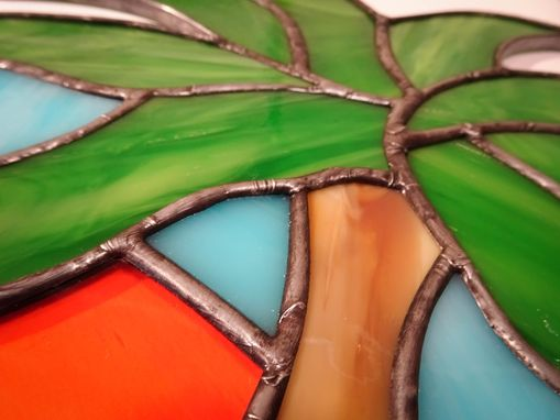 Custom Made Palm Tree And Sun Stained Glass