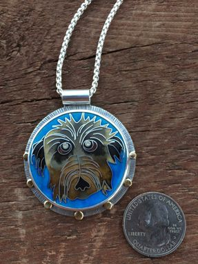 Custom Made Cloisonne Enamel Pet Portrait Necklace, Cloisonne Enamel Pet Portrait Neckace