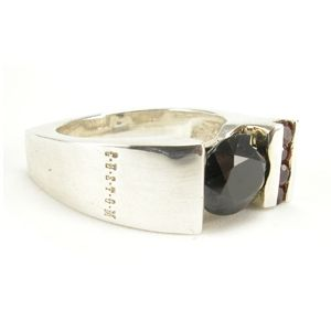 Custom Made Black Spinel And Songea Sapphire Ring