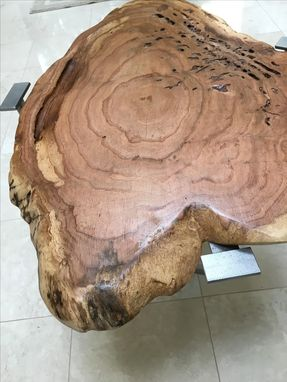 Custom Made Induatrial-Chic Burl-Top Side Or Sofa Table