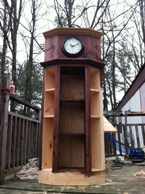 Custom Made Corner Clock W/ Shelves