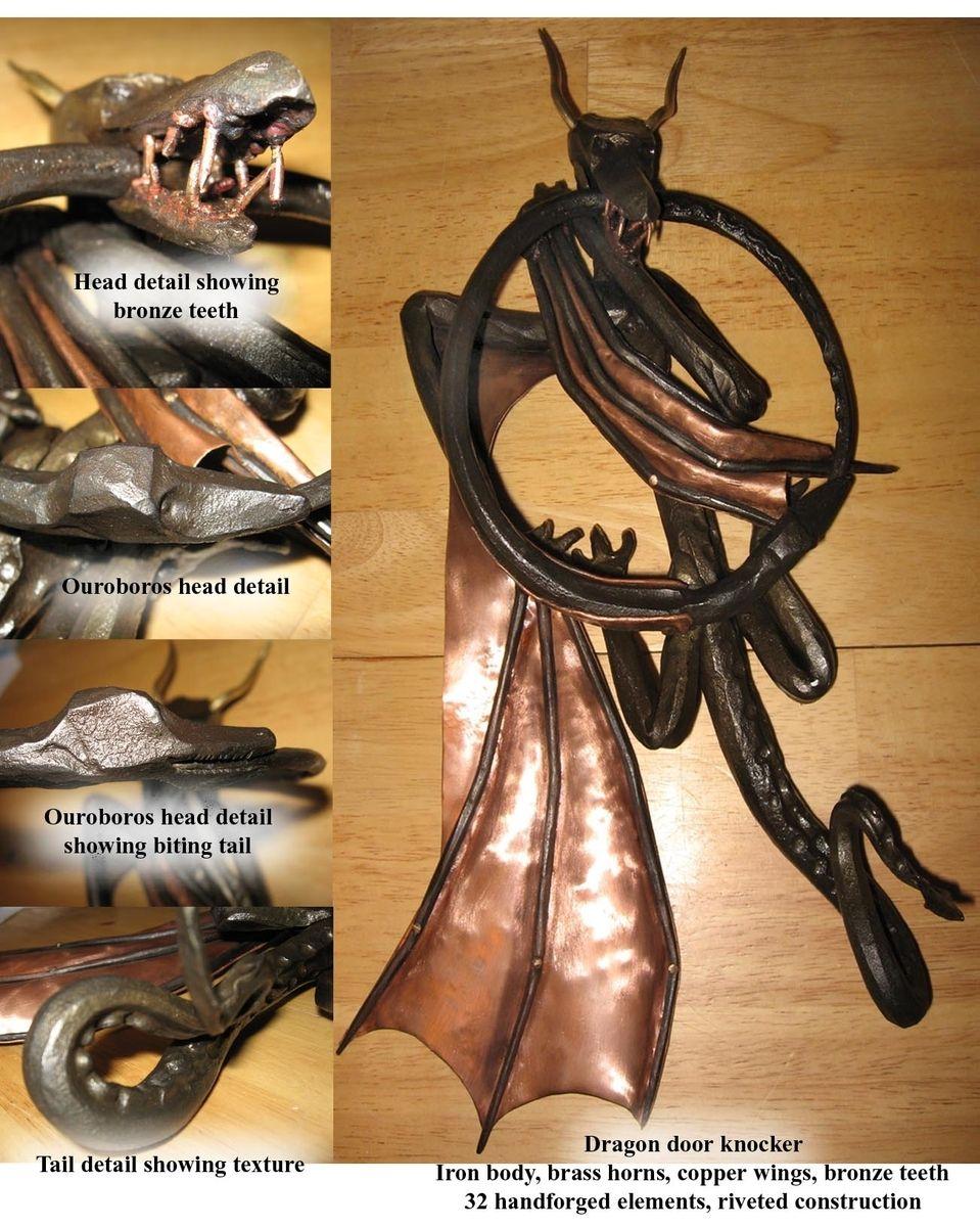 Handmade dragon door knocker by living iron forge for Custom made door knockers