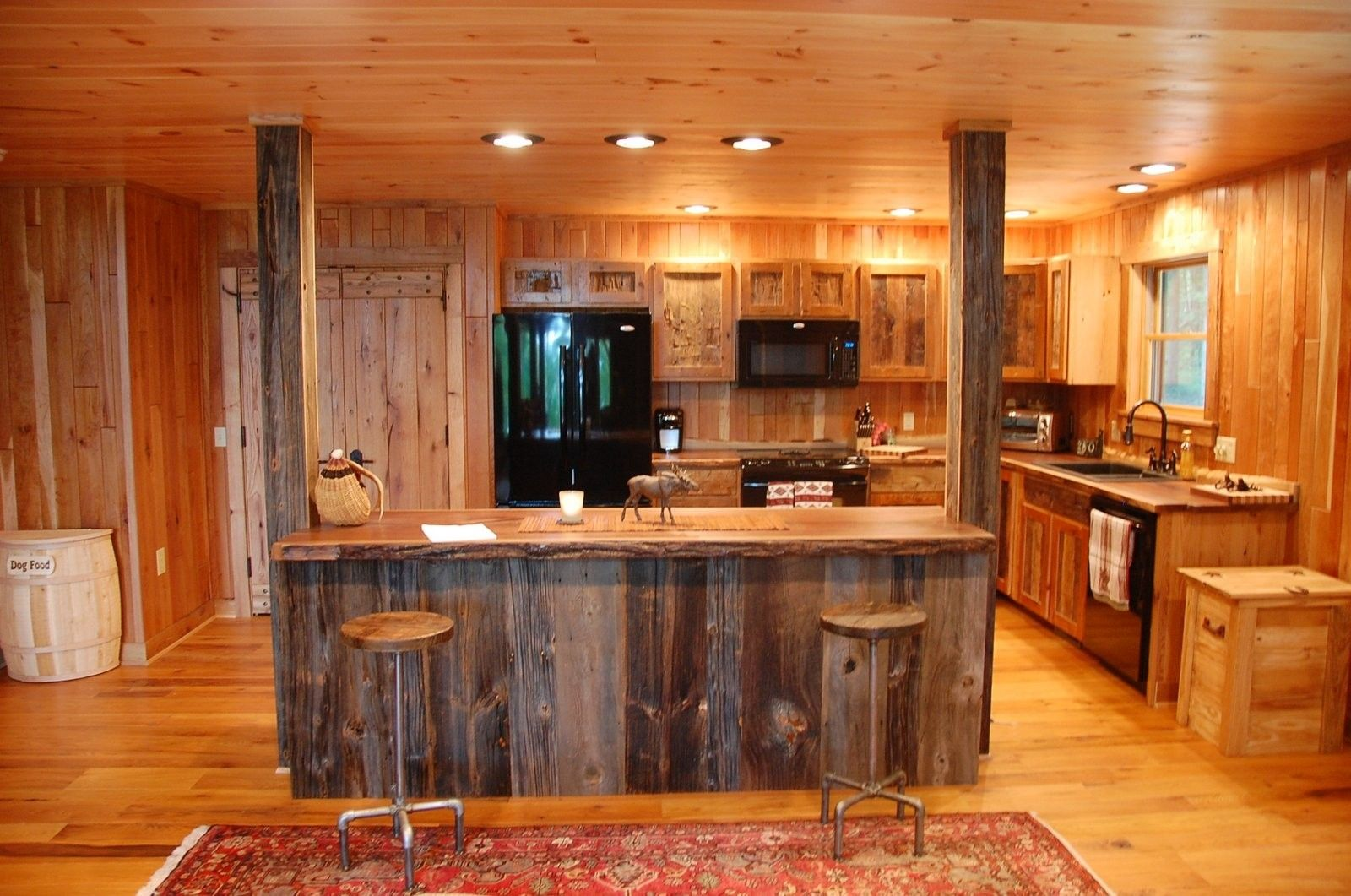 Custom made reclaimed wood rustic kitchen cabinets by for Custom built kitchen cabinets