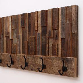 Reclaimed Wood Art Coat Rack 36x18 5x4