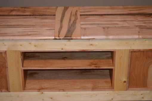 Custom Made Ambrosia / Wormy Maple And Pine Tv Stand / Coffee Table With Walnut Accent
