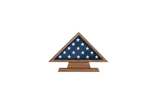 Custom Made Retirement Flag Memorial Case On Pedestal