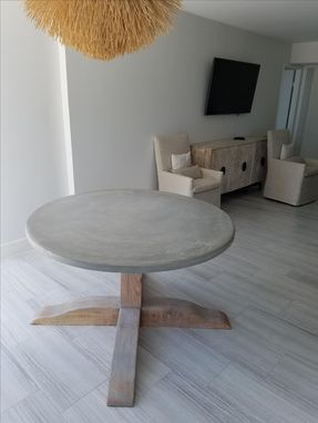 Custom Made Concrete Top Round Pedestal Table
