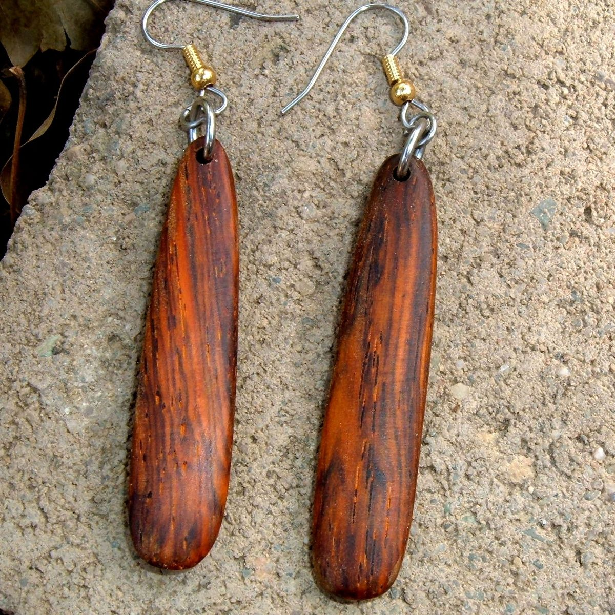 Custom Made Sossi Jewelry Home: Custom Wood Earrings Of Cocobolo, Very Lightweight..L010