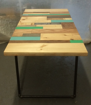 Custom Made Reclaimed Pine And Oak Patchwork Dining Table