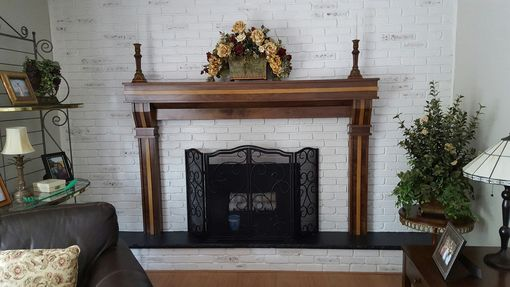 Custom Made Walnut Fireplace Surround With Quartersawn White Oak Highlights