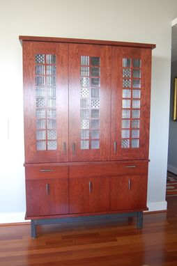 Custom Made Cherry Cabinet With Frank Lloyd Wright Glass Inserts