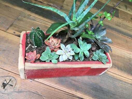 Custom Made Rustic & Worn Reclaimed Wood Succulent Box