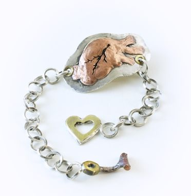 Custom Made Anatomical Heart Id Bracelet With Sterling Silver Handmade Chain And Unique Heart Clasp.