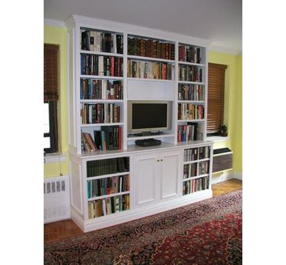 Custom Made Painted Bookcases With Tv Cabinet