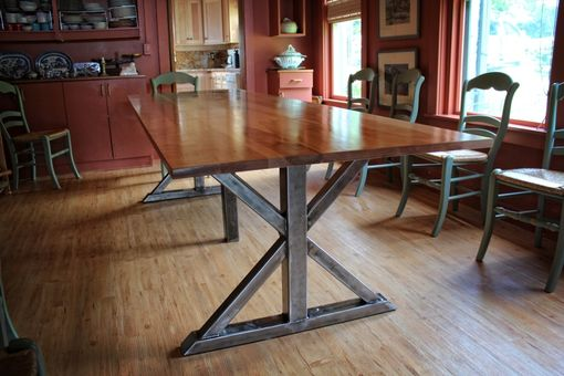 Custom Made Birch And Steel Trestle Dining Table