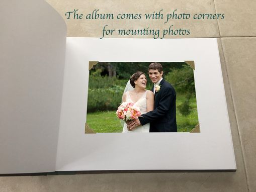 Custom Made Custom Wedding Album, Guest Register, With Names And Wedding Date Hand-Engraved On Cover Wood Plate