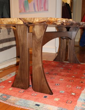 Custom Made Ambrosia Maple Slab Dining Table, Live Edge
