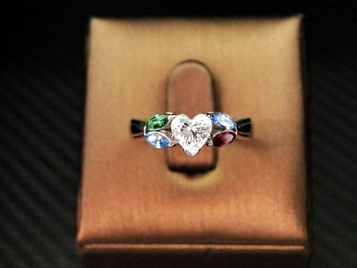 Custom Made John Cordova's 14k White Gold Heart Shape Diamond Engagement Ring