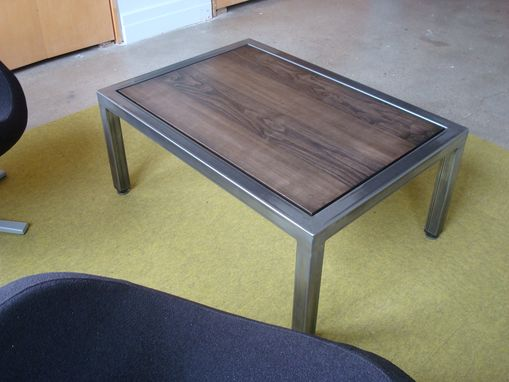 Custom Made Steel And Maple Coffee Table