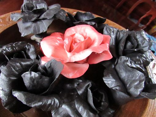 Custom Made Carved Wood Bowl With Huge Pink Porcelain Rose Surrounded By Black Roses
