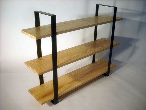 Custom Made Flat Bar Bookcase - Ash & Steel