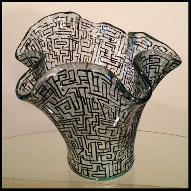 Custom Made Hand Painted Vase. Abstract Geometric Design.