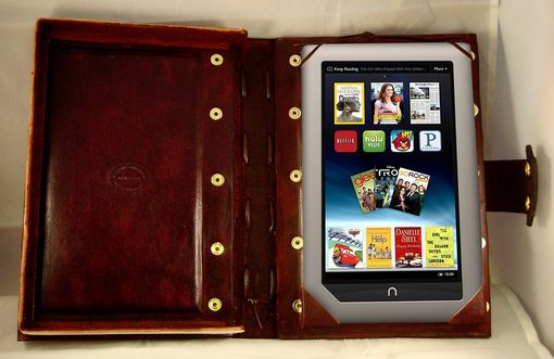 Custom Made Handcrafted Leather Kindle Nook Cover