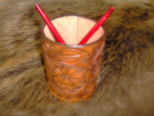 Custom Made Custom Hand Made Leather Pencil Cup Holder