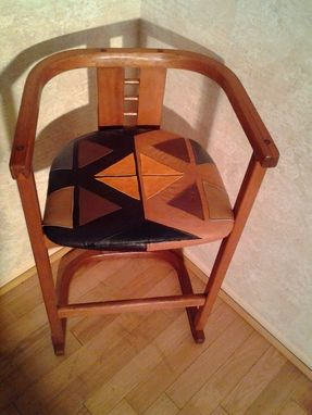 Custom Made Mid-Century Modern Tribal Leather Chair