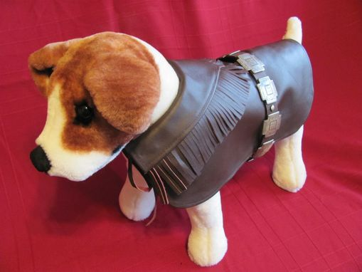 Custom Made Western Distressed Silver Crosses Leather Dog Coat