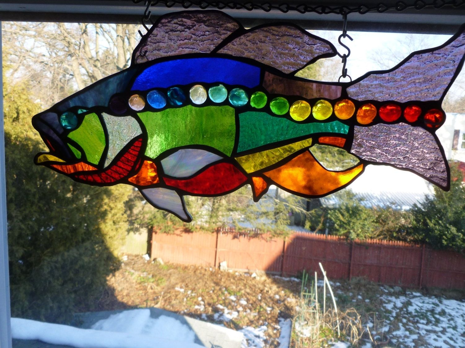 Custom Rhode Island Rainbow Large Mouth Bass Stained Glass Art By Glass Monkey Arts York Stained Glass Custommade Com