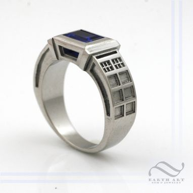 Custom Made Tardis Ring With Lab Sapphire