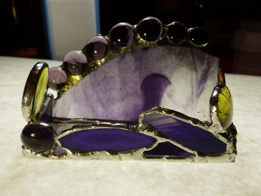 Custom Made Purple And Yellow Stained Glass Business Card Holder With Agate Geode
