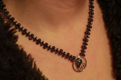Custom Made Hand Woven Amethyst And Hematite Calla Lily Flower Necklace With Filigree Clasp