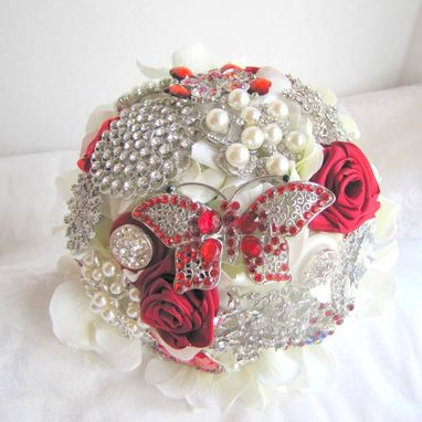 Custom Made Red Rhinestone Brooch Bouquet