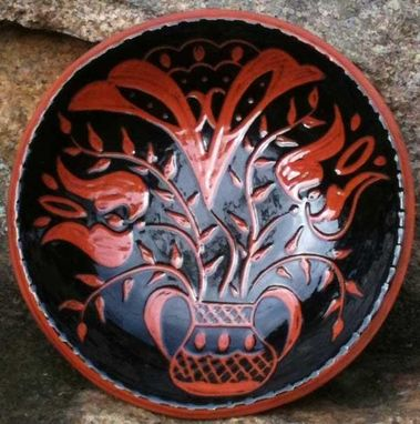 Custom Made Ceramic Plate With Black Background And Red Flowers In An Urn