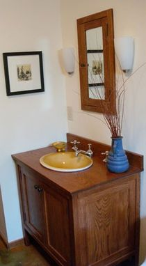 Hand Made White Oak Stained Bathroom Vanity Closed Style